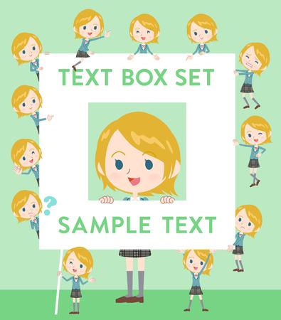 fingering: Set of various poses of Schoolgirl Caucasian text box