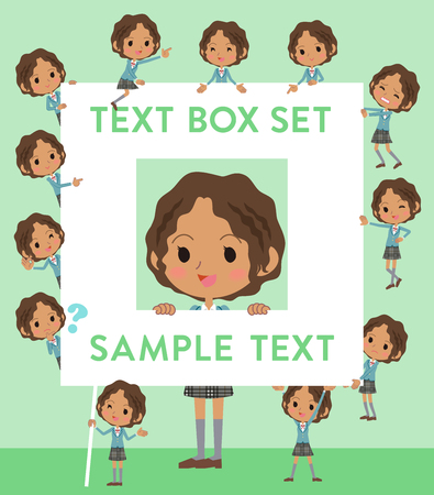 Set of various poses of Black school girl text box