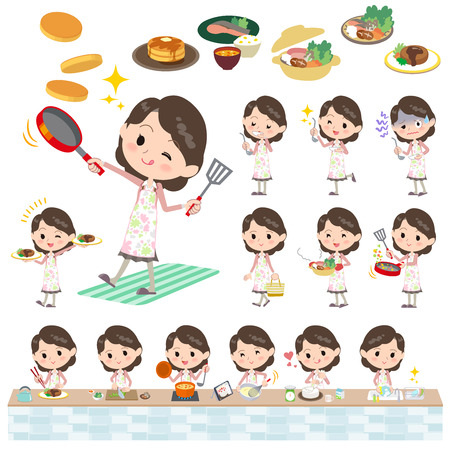 Set of various poses of Pink jacket Middle woman cooking Vettoriali