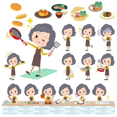 yellow jacket: Set of various poses of Yellow jacket Middle woman cooking Illustration