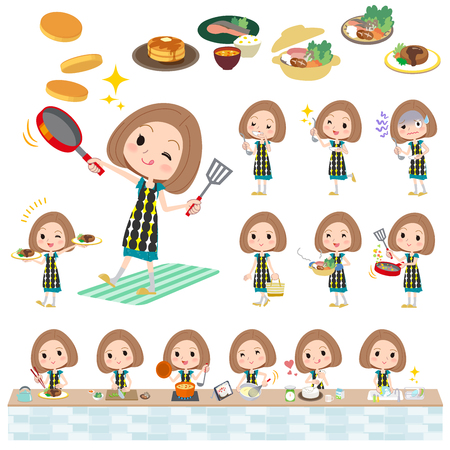 successful student: Set of various poses of Bob hair green dress woman cooking Illustration