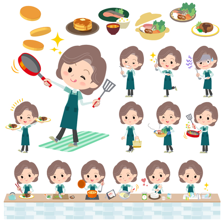 japanese dessert: Set of various poses of Blue-green wear Middle woman cooking