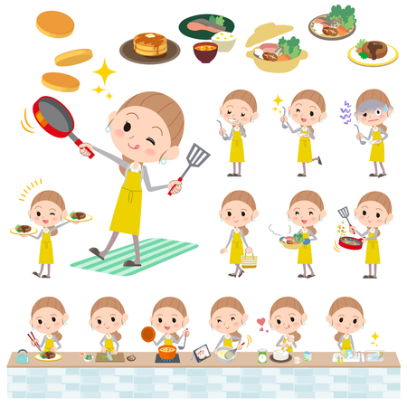 stirring: Set of various poses of Behind knot hair yellow skirt woman cooking
