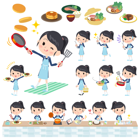 Set of various poses of school girl Sailor suit cooking