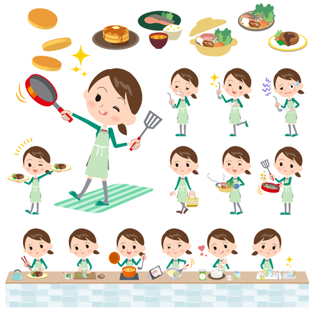Set of various poses of school girl Green Blazer cooking