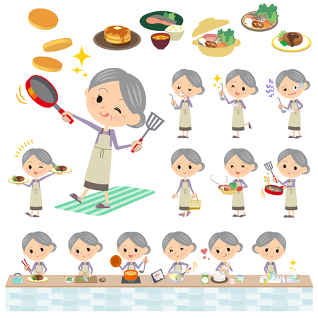 Set of various poses of Purple clothes grandmother cooking 矢量图像