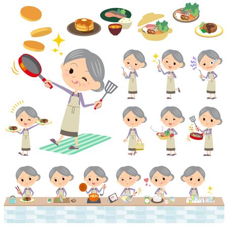 Set von verschiedenen Posen der purpurroten Kleidung Großmutter Kochen