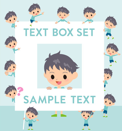Set of various poses of blue clothing boy text box