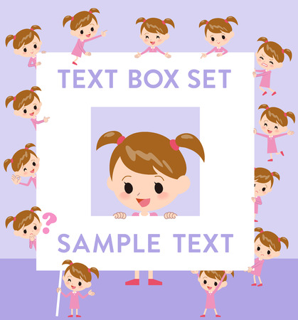 Set of various poses of Pink clothing girl text box