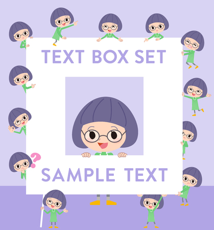 Set of various poses of Green clothes Bobbed Glasses girl text box Illustration