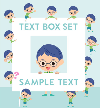 Set of various poses of Green clothing glasses boy text box