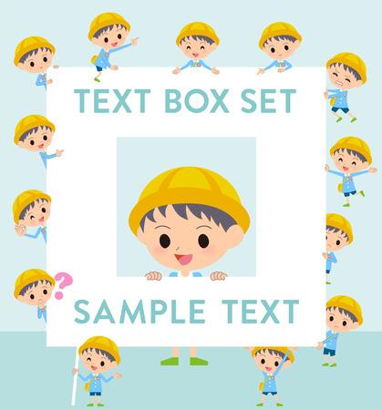 fingering: Set of various poses of Nursery school boy text box Illustration