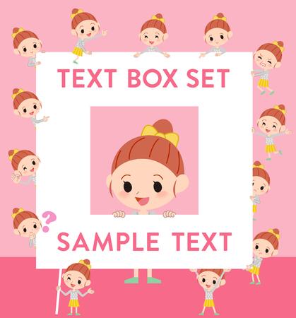 fingering: Set of various poses of Polka dot clothes ribbon girl text box