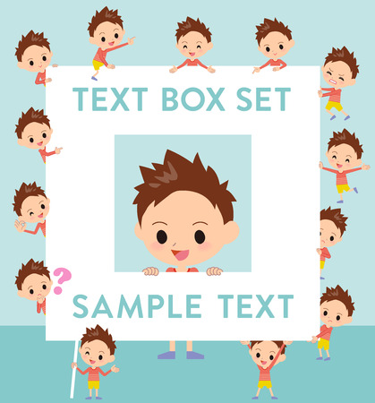 Set of various poses of Red clothing short hair boy text box