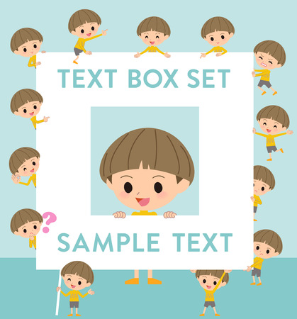 bobbed: Set of various poses of Yellow clothes Bobbed boy text box