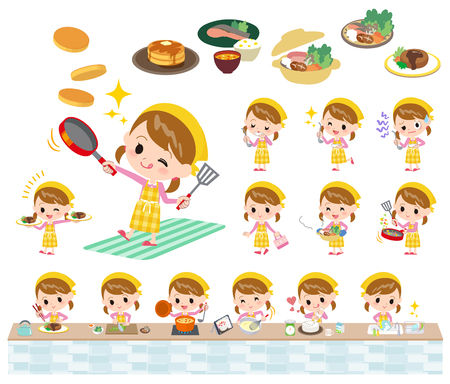 Set of various poses of Pink clothing girl cooking