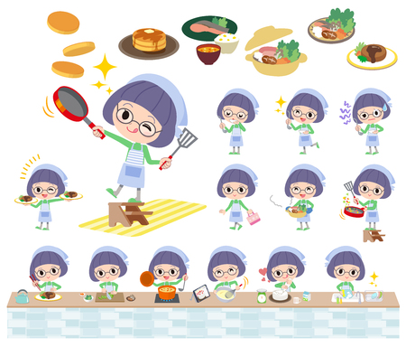 Set of various poses of Green clothes Bobbed Glasses girl cooking Illustration