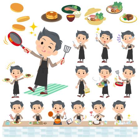 lavar platos: Conjunto de varias actitudes de Hombre gris del desgaste de cocción
