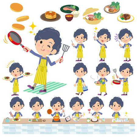 Set of various poses of Stripe apron perm hair man cooking