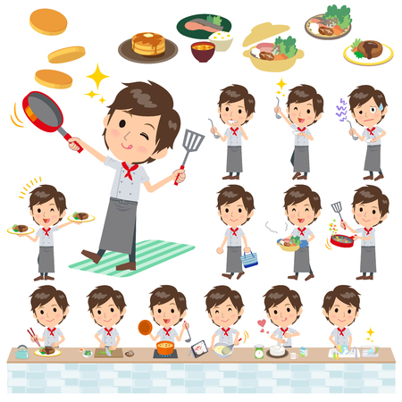 stirring: Set of various poses of Western cuisine cook man cooking