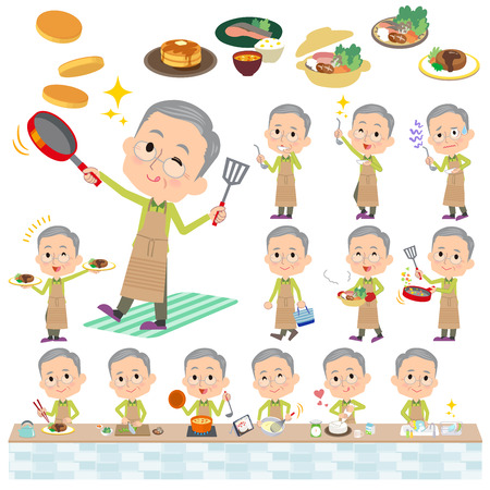 stirring: Set of various poses of Green wear grandfather cooking