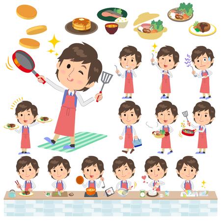 Set of various poses of blue vest man cooking Illustration