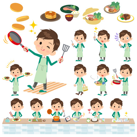 blazer: Set of various poses of school boy Green Blazer cooking