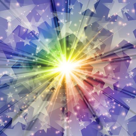 Cosmic Radiation Lots of Star rainbow background graphic design Illustration