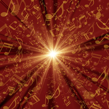 Cosmic Radiation Lots of musical note red background graphic design