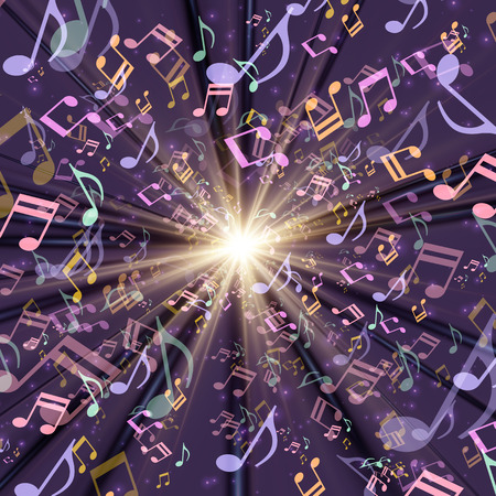 backlit: Cosmic Radiation Lots of musical note multicolor background graphic design Illustration