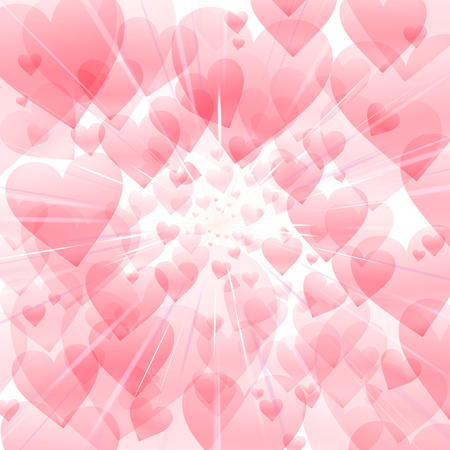 reflection of life: Cosmic Radiation Lots of Hearts White background graphic design