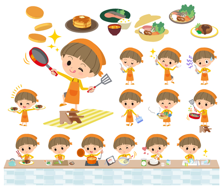 Set of various poses of Yellow clothes Bobbed boy cooking Illustration