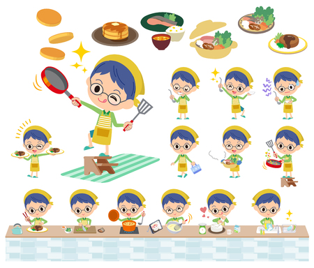 Set of various poses of Green clothing glasses boy cooking