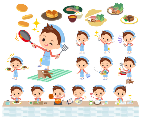 Set of various poses of Red clothing short hair boy cooking