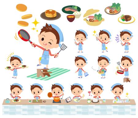 cocineros: Conjunto de varias poses de ropa de pelo corto rojo de cocina niño