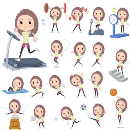 Set of various poses of Long hair woman Sports & exercise