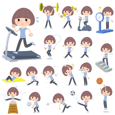 Set of various poses of Mash hair blue wear woman Sports & exercise 矢量图像