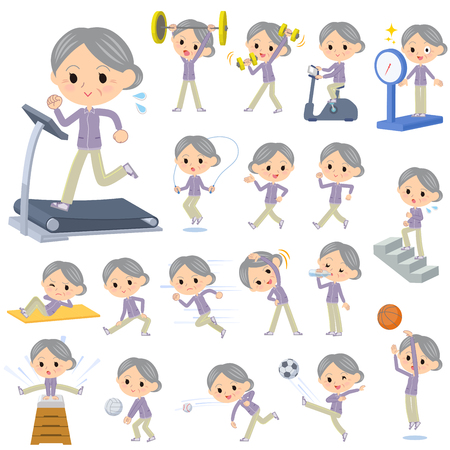 woman stairs: Set of various poses of Purple wear grandmother Sports & exercise Illustration