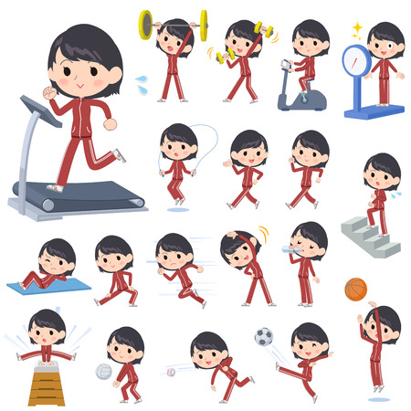 Set of various poses of school girl red jersey Sports & exercise