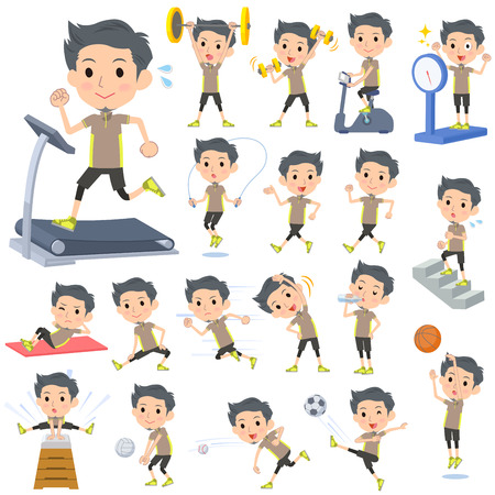 Set of various poses of Beige wear man Sports & exercise