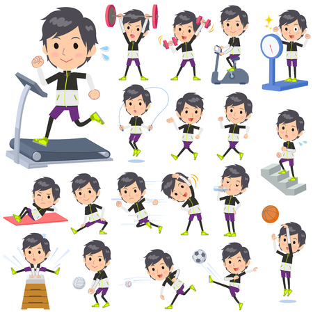 hydrate: Set of various poses of monotone wear man Sports & exercise Illustration