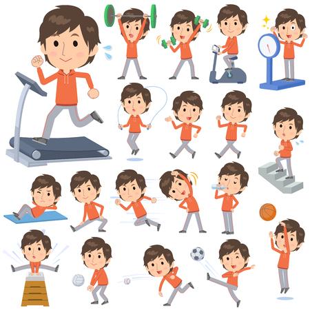 Set van verschillende poses van oranje slijtage man Sport & lichaamsbeweging
