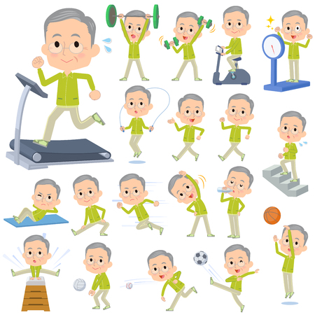 Set of various poses of Green wear grandfather Sports & exercise
