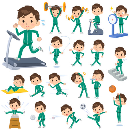 Set of various poses of school boy Green jersey Sports & exercise