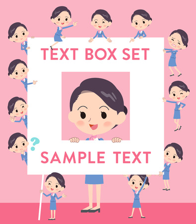 Set of various poses of Cabin attendant blue woman text box Illustration