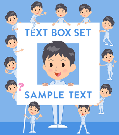 Set of various poses of chiropractor man text box Illustration