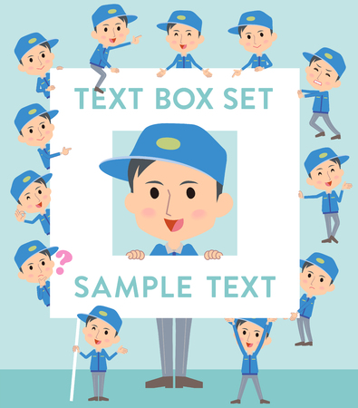 Set of various poses of Delivery man text box