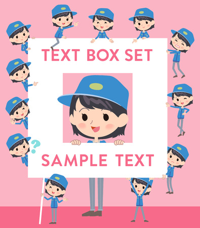 deliveryman: Set of various poses of Delivery woman text box Illustration
