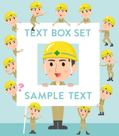 Set of various poses of helmet construction worker man text box