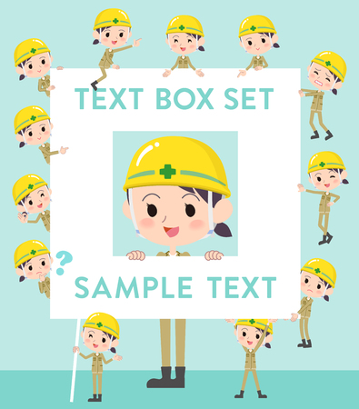 Set of various poses of helmet construction worker woman text box